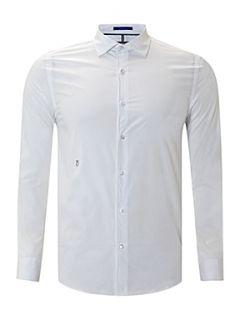 Peter Werth Long sleeve stretch poplin shirt White