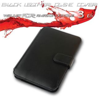 Black Leather Case Cover Wallet for  Kindle 3 3G