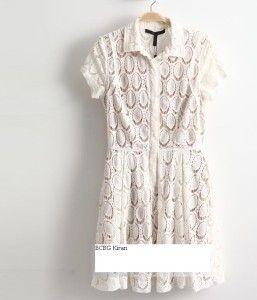 268 BCBG Kiran Lace Shirt Dress White 0 2 4 6 8