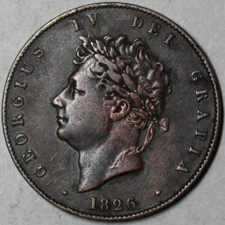 1826 King George IV 1 2 Half Penny Great Britain Old US Money