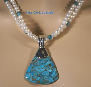 Jay King Mine Finds Kingman Turquoise Bronze Matrix Necklace Pendant