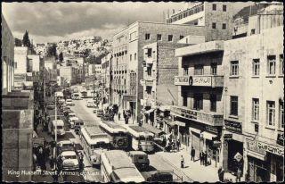 Jordan Amman King Hussein Street Car Bus Truck 1950s RPPC
