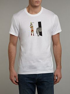 Paul Smith Jeans Crew neck zebra changing printed T shirt White