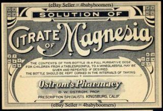 10 Kingsburg California Antique Drug Store Pharmacy Medicine Bottle