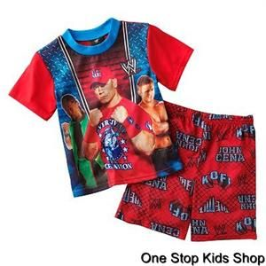 WWE Wrestling 4 6 8 10 Boys Pajamas PJs Set Cena Kofi Miz Shirt Top