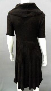 Kim Rogers Womens L Knit A Line Sweater Dress Brown Knee Length Short