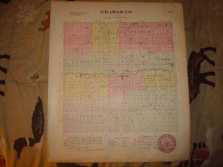 1887 Graham County Kirwin nicodemus Kansas Antique Map