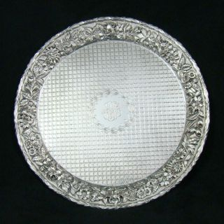 Kirk Son Co Sterling Silver Repousse Quilted Round Platter