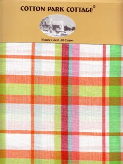Kitchen Plaid White Green Red Orange Blue Cotton Fabric Tablecloth