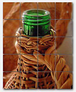Wine Bottle in Basket Ceramic Mural Backsplash Kitchen 32x40 In