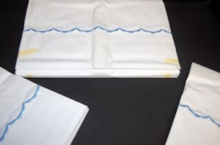 Vtg Cannon Combspun 100 Cotton Percale Blue Scallop Dbl Sheet Flat