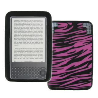 For  Kindle 3 Hot Pink Zebra Skin Soft Silicone Case Cover