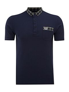 Fred Perry Woven checked polo shirt Navy