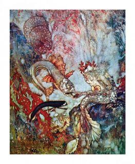 Merman King Card King of The Mermaids Feeds Fish Edmund Dulac