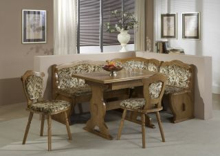Rustic Oak Dining Set Kitchen Corner Bench Booth Table Chairs