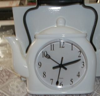 Kitchen Wall Clock, White Plastic with Black Novelty Hands, Fun Clock