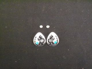 GORGEOUS DEAD PAWN STER. SILVER TEAR DROP SHAPE EARRINGS W/ KOKAPELLI