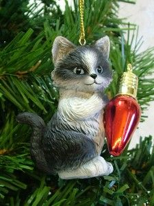 New Calico Playful Kitten Cat Playing w/ Red Lightbulb Christmas Tree