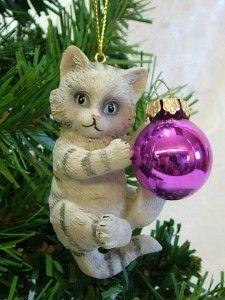 New Grey Playful Kitten Cat Playing w/ Purple Lightbulb Christmas Tree