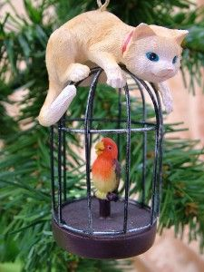 New Curious Cat Play Kitty Bird Cage Christmas Ornament