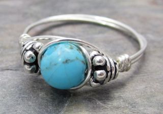 Kingman AZ Turquoise Bali Sterling Silver Wire Wrapped Bead Ring Any