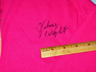 Autograph of Country Artist Kitty Wells Johnny Wright on XL T Shirt