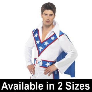 Licensed Stuntman Evel Knievel Fancy Dress Costume 70s 80s Adult Mens