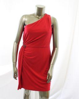 Calvin Klein New Red Womens One Shoulder Jewel Pintuck Evening Dress