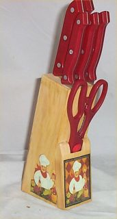 Red Knife Set 7 PC Butcher Block Fat Chef Bistro Kitchen Decor Diamond