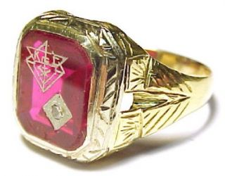 Knights of Columbus Vintage 14kt Solid Gold Mens Ring Size 9