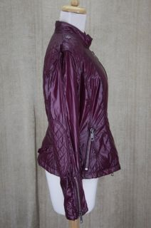 Burberry Brit Kington Womens Nylon Biker Jacket Coat Plum Purple 10