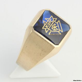 Syn Blue Spinel Knights of Columbus Ring   10k Yellow Gold Band K of C