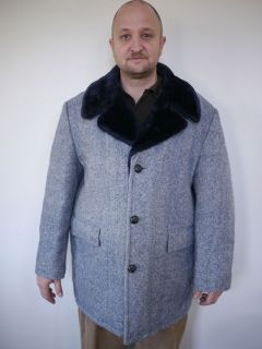 Vintage 50s Fox Knapp Blue Chevron Wool Tweed Faux Fur Lined Over Coat
