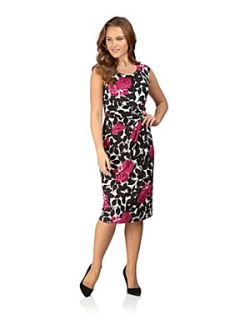 Precis Petite Rose Print Dress Black