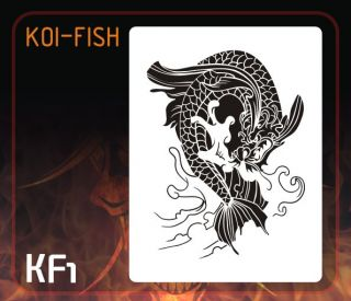 Airbrush Stencil Template Japanese Dragon Koi Fish New Koi Fish KF1