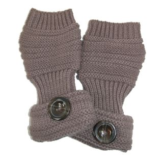 CTM Heavy Knit Fingerless Gloves with Button Accent
