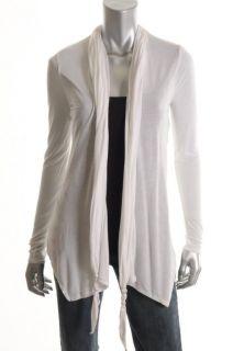 Tahari New Tracy White Jersey Knit Tie Neck Shawl Long Sleeve Cardigan