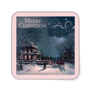 Vintage Merry Christmas Square Stickers