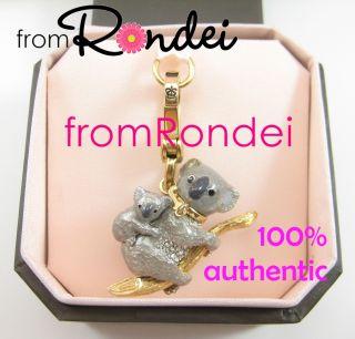 Couture Koala Baby Mom Bear Animal Gold Bracelet Charm in Box