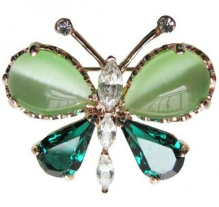 Green Butterfly Brooch Pin Gold GF Authentic Swarovski Crystal