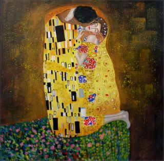 Hand Painted Oil Painting Repro Gustav Klimt The Kiss 36x36in