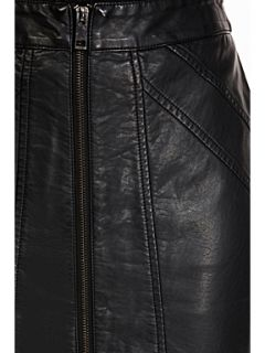 Oasis Faux leather zip pencil skirt Black