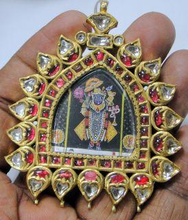 Gold Krishna Pendant 20 Ct Solid Gold Diamond Rubies Kundan Polki Work