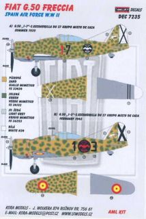 Kora Decals 1 72 Fiat G 50 Freccia Spanish Air Force