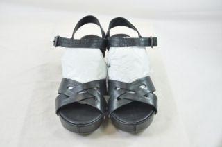 Kork Ease Deborah Black Leather Open Toe Stud Accent Buckle Ankle
