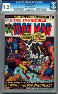 INVINCIBLE IRON MAN #55 CGC 9.2 CREAM TO OFF WHITE PAGES 1ST THANOS