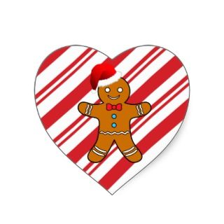 gingerbread man at christmas heart stickers