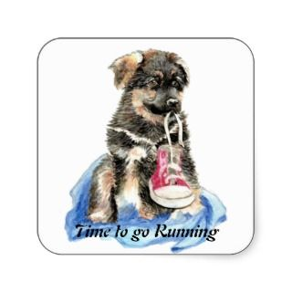 Time to go Running Motivation Quote Cute Dog Sticker