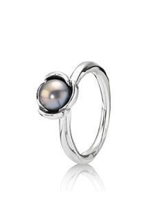 Pandora Sterling Silver and Grey Pearl Ring Grey