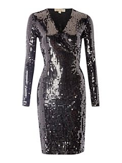 Michael Michael Kors Long sleeve sequin wrap dress Nearly Black